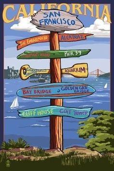 San Francisco, California - Sign Destinations - Lantern Press Poster