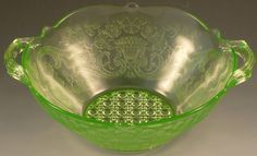 Lancaster Debbra Green Depression Glass 2 Handle Bowl 770 Serving Two Handled Mold Etched 1930s Cane Center Authentic Great Condition