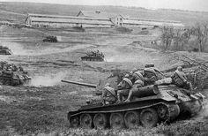 Soviet T-34s during the Battle for Razdelnaya station near Odessa in April 1944