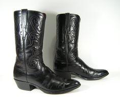 lucchese men's 9.5 D cowboy boots black by vintagecowboyboots