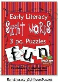 Early Literacy Sight Words 3 pc Puzzles product from RFTS-Preschool on TeachersNotebook.com