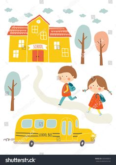 Back to school card design. Kids going to school. Cute boy and girl with school building and school bus. Cartoon vector clip art eps 10 illustration on white background. Kids Going To School, Back To School, Paint Shirts, School Cartoon, First Day School, Cartoon Background, School Building, Cute Boys, Hand Lettering