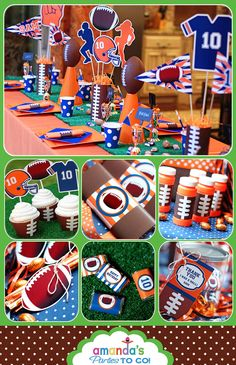 Football Party - New Football Birthday Printable Set - CHOOSE your Team and Colors - by Amanda's Parties TO GO. $29.00, via Etsy.