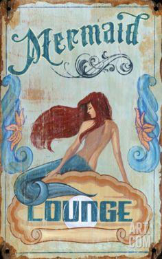 Mermaid Lounge Wood Sign Wood Sign at Art.com