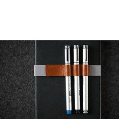 Leather Pen Case Notebook Gray Strap Hand-stitched Honey