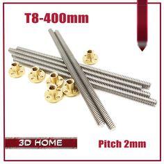 RepRap 3D Printer THSL-400-8D T-type stepper motor trapezoidal Lead Screw Dia 8MM Thread 8mm Length 400mm with Copper Nut