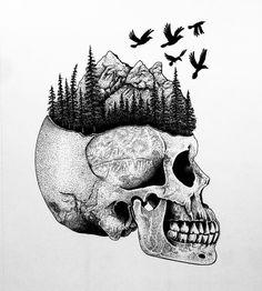 Little skull with some nature stuff drawing, tattoo design, dotwork, blackwork, skull tattoo, mountains, ravens