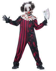 Killer Clown Child Costume at Spirit Halloween - This clown can throw a killer party! Seriously! Killer Clown Child Costume includes red and black patterned jumpsuit, blood splattered collar, and crazy clown mask with attached hair so no one will be laughing at you on Halloween. Get yours for $39.99.