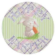 Hoppy happy easter bunny stripes and plaid pattern round pillow hoppy happy easter bunny stripes and plaid pattern round paper coaster pattern sample design template negle Images