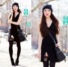 This outfit not only kept me warm and comfortable, but was also edgy enough for my taste!  Choies Mesh Beanie, Lulu*S Bodycon Dress, Lulu*S Crossbody Bag, Lulu*S Fuchsia Lipstick
