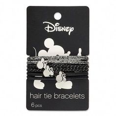 Conair Mickey Mouse Hair Elastics With Metal Charms - Silver - : Target Mickey Mouse Jewelry, Hair Tie Bracelet, Silver Jewelry Cleaner, Disney Hair, Disney Artwork, Engraved Necklace, Silver Bars, Beauty Essentials, Hair Ties