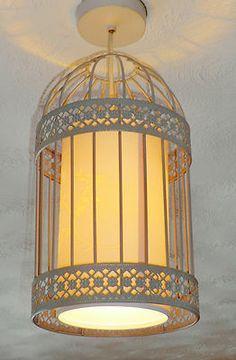 SHABBY BIRDCAGE CHANDELIER PENDANT LIGHT LANTERN STONE METAL CHIC RETRO LAMP BN