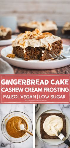 Paleo Gluten Free Vegan Gingerbread Cake This vegan gingerbread cake with cashew cream frosting is easy to make and makes the perfect healthy Christmas dessert for the family this holiday season It is paleo gluten free and low sugar as well Paleo Dessert, Healthy Dessert Recipes, Vegan Desserts, Cake Recipes, Vegan Cake, Vegan Recipes, Paleo Treats, Vegan Sweets, Vegan Gingerbread Cake Recipe