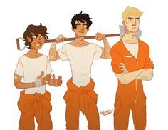 thecottonproject: I don't know. A side quest where these three go undercover as young offenders in order to find an item/save someone. In which Percy and Leo are in their element as delinquents and Jason is struggling internally and cannot get into character to save his life.