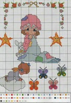 Precious Moments, Cross Stitch Designs, Cross Stitch Patterns, Embroidery Stitches, Mickey Mouse, Alphabet, Kids Rugs, Dolls, Sewing