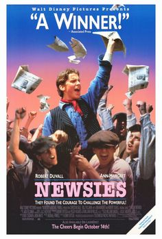 Newsies , starring Christian Bale, Bill Pullman, Robert Duvall, Ann-Margret. A musical based on the New York City newsboy strike of 1899. When young newspaper sellers are exploited beyond reason by their bosses they set out to enact change and are met by the ruthlessness of big business. #Drama #Musical