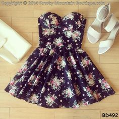 Noemie Floral Bustier Dress with Adjustable by SmokyMtnBoutique, $34.95