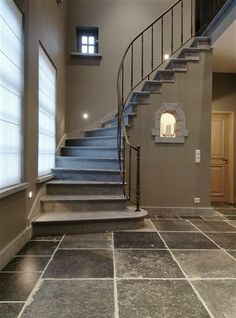 Iron Stairs Railing Entrance 22 Ideas For 2019 Iron Stair Railing, Staircase Railings, Stairways, Iron Balusters, Basement Stairs, House Stairs, Railing Design, Staircase Design, Interior Stairs