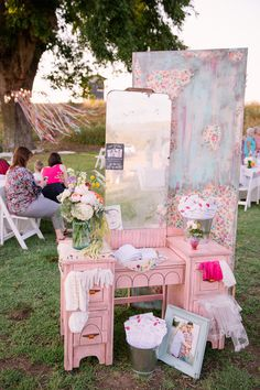 Vintage Shabby Chic Wedding Decor Idea The Guest Book Was Set On An Adorable