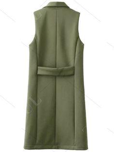 Pockets Turn-Down Collar Long Waistcoat GREEN: Waistcoat   ZAFUL