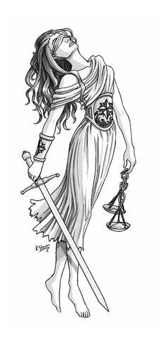 Classic Black And Grey Lady Justice Tattoo Design Body Art Tattoos, Tattoo Drawings, New Tattoos, Sleeve Tattoos, Tatoos, Libra Tattoo, Libra Scale Tattoo, Justitia Tattoo, Scales Of Justice Tattoo