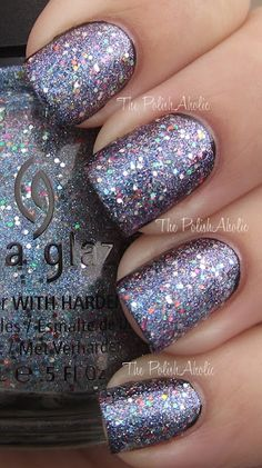 Liquid Crystal is a mix of small glitter that has a blue purple duochrome and medium sized multicolored glitter