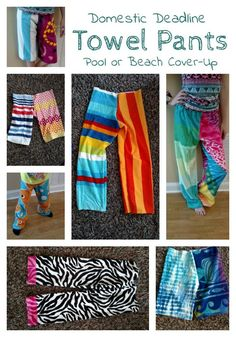 DIY Towel Pants, Diy And Crafts, Easy Beginner summer sewing tutorial - turn towels into pants for the beach. Diy Clothes Refashion, Diy Clothing, Sewing Clothes, Women's Clothes, Sewing Tutorials, Sewing Hacks, Sewing Projects, Sewing Tips, Sewing Ideas