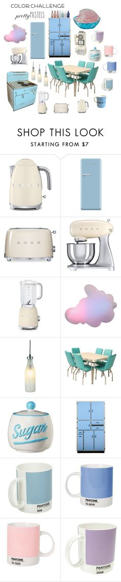 """Retro Pastel Kitchen"" by keeperoftheart ❤ liked on Polyvore featuring interior, interiors, interior design, home, home decor, interior decorating, Smeg, Droog, Global Amici and Pantone"