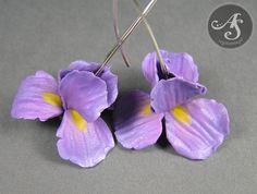 Iris flower earrings - handmade polymer clay earrings