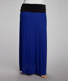 Loving this Royal & Black Fold-Over Maxi Skirt - Plus on #zulily! #zulilyfinds