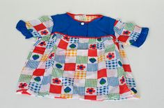 french kids smock top / blue flower power motif / by BOULOTDODO