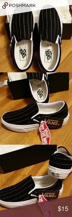 1f64f6027 Unisex Van slip on shoes in pinstripe wool