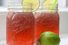 Raspberry Limeade with Chia Seeds ~ the oils inside these little seeds are Omega 3 and 6′s and they are also teeming with anti-oxidants. They are a natural energy booster, aid digestion and can help maintain blood sugar levels.  Pretty amazing stuff for such tiny seeds.
