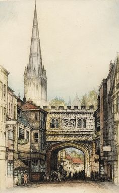 Edward Sharland - Early 20th Century Etching, Salisbury Cathedral