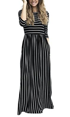 New ThusFar Women 3/4 Sleeve Striped Maxi Dress With Pockets Elastic Waist Casual Long Dresses online. Find great deals on SUNTTON Dresses from top store. Sku ojno93260eazp31054