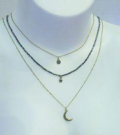 Steve Madden 3 Layer Necklace Sun, Moon & Star Beaded Chain NWT  #SteveMadden #Layered