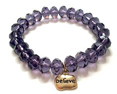 The Amelia Treasure Bracelet affirms the inner treasure of belief. This fashionable stretch bracelet features crystal beads with a gold pewter charm. Packaged in a brown jewelry box.    Charm:    Believe    Bead Color Options:    Amethyst, Green, Soft Pink, Sapphire, Topaz, Champagne, Aqua, Clear, or Red  www.TheTreasureBracelet.com  Just $34.00