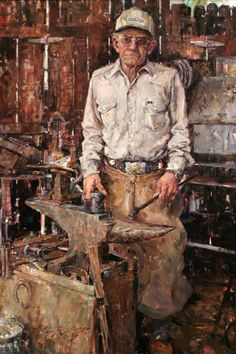 Jeffrey Watts    Farrier, oil on canvas, 101 x 152 cm