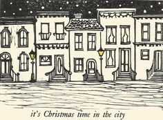 Letterpress printed Christmas card City image cut by hand out of linoleum Metal type set by hand Blank inside Comes with matching cream colored envelope