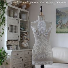 This Shabby Chic Darling is what I got as the result of playing with vintage lace and doilies when trying to display them on the old mannequin