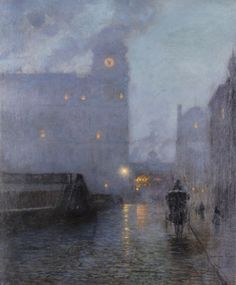 Grand Central and the Biltmore in Hazy Twilight - Lowell Birge Harrison 1910