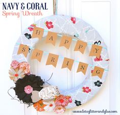 Bright and Cheery Nave & Coral Spring Wreath