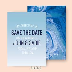 MARBLED WEDDING SAVE the DATE CL.AM CORRESPONDENCE http://www.cl-am.com