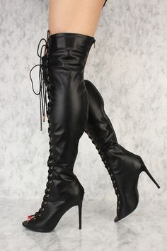 954f1f45e9b Black Front Lace Up Peep Toe Knee High Heel Ami ClubWear Boots Faux Leather