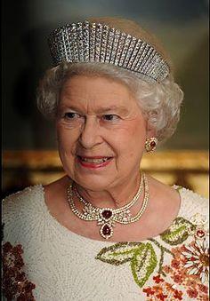 Elizabeth II wearing The Russian Kokoshnik Tiara