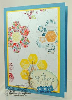handmade card ... Hexagon quilt flower pattern ... used digi program My Design Studio to create paper with hexagon punch and printed paper fill .. luv the colors ... Stampin' Up!