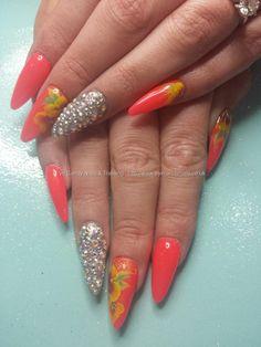 Orange gel polish with one stroke flower nail art and swarovski crystals