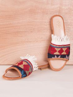 Our Turkish kilim rug loafers are one of a kind. Handmade with a wool upper, leather lining/interior and a inch raise. Turkish Kilim Rugs, Espadrilles, Loafers, Sandals, Leather, Handmade, Shoes, Style, Espadrilles Outfit