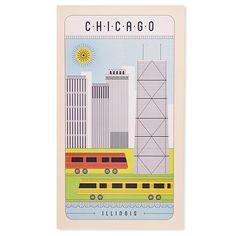 """Chicago Line Drawing 10"""" x 17.5"""" Poster"""
