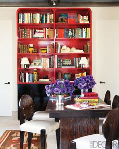great red bookcases